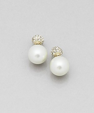 Double Sided Pearl Crystal Earrings