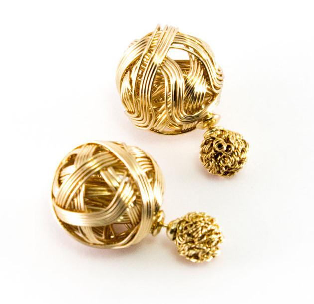gold wired sided earrings dainty diamondz